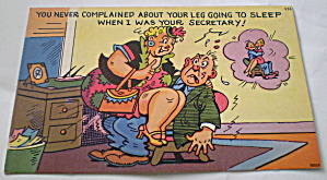Comic Vintage Postcard-legs Going To Sleep