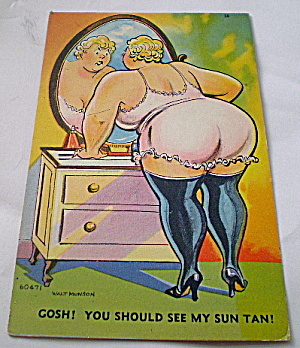 Vintage Comic Postcard-the Suntan
