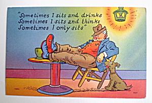 Comic Vintage Postcard - Sittin' & Thinkin' (Image1)