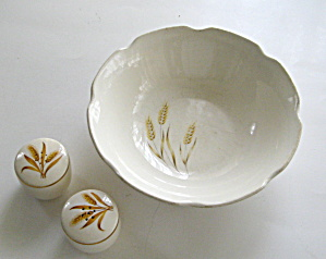 Golden Wheat Bowl And Shaker Set Classic Dinnerware
