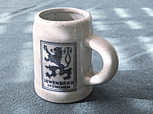 Lowenbrau Miniature Crock Shot Glass Stein