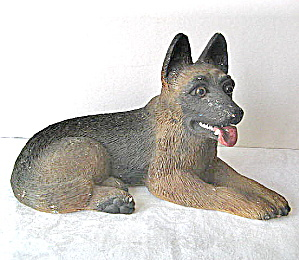 Vintage 1950 Plaster Paris Painted German Shepherd (Image1)