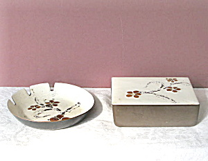 Bovano Enameled Cigarette Box And Ashtray Set