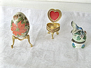 Boudoir Grabbag1980 Porcelain Egg and 2 Ring Containers (Image1)