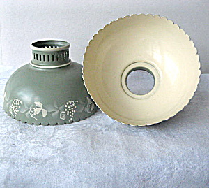 Set of 2 Vintage Enamelled Aluminum Oil Lamp Shades (Image1)
