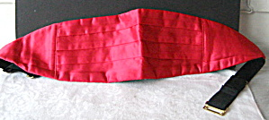 Cummerbund W/ Handkerchief Vintage 1980 Mens Red Satin