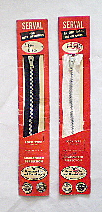 Vintage 1930s-40s Metal Neck and Skirt  Zippers (Image1)