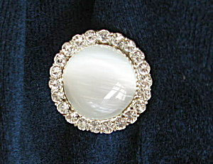 Vintage 1960 Rhinestone Ringed Frosted Button (Image1)
