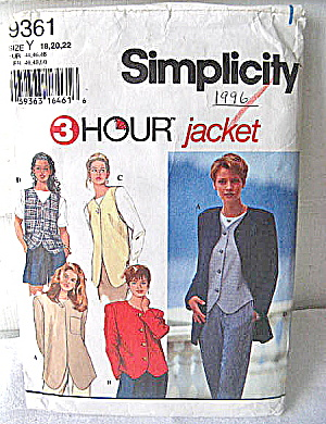 Simplicity 1996 3 hour Jacket Pattern (Image1)