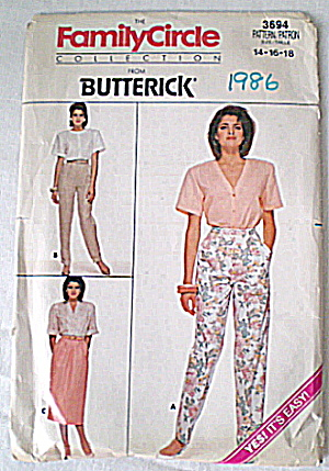Vintage Ladies1986 Slacks & Skirt Pattern