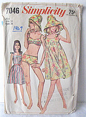 Simplicity1967 Bathing Suit/ Hat / Beach Dress Pattern. (Image1)