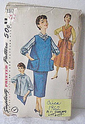 1962 Vintage Maternity(Jacket/Top/Skirt /Vest)Pattern  (Image1)