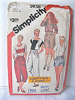 Vintage Simplicity Loose Fit Pants Pattern (4 Styles)
