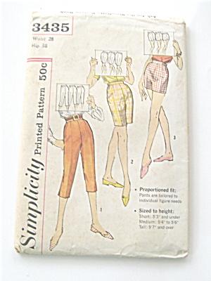 Simplicity Capri, Bermuda, Shorts, 1955 Vintage Pattern (Image1)