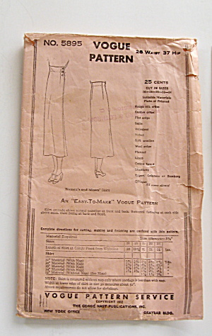 Vogue Vintage 1932 Skirt Pattern