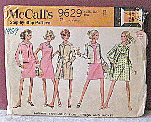 1969 Ladies Ensemble/coat,dress & Jacket Pattern