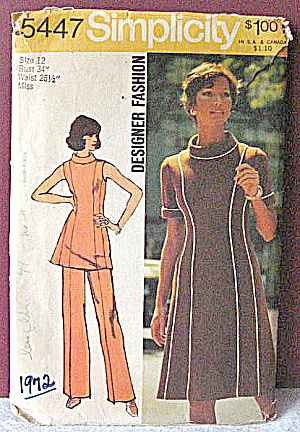 Vintage 1972 Simplicity Dress & Slacks Pattern