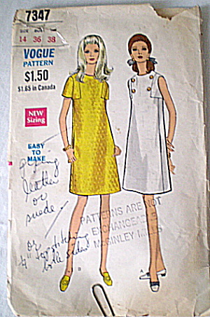 Vintage Vogue A-line W/slash Pockets Pattern
