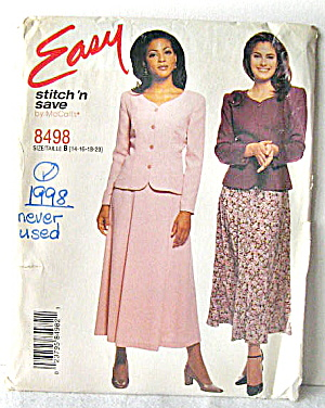 1998 Mccall's Womens Jacket And Skirt Set Pattern