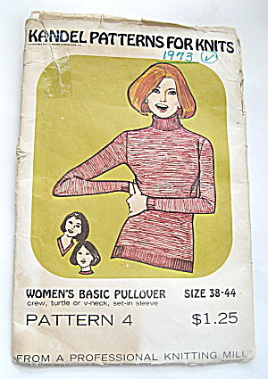 Vintage 1973 Knit Ladies Crew/V- Neck Sweater Pattern (Image1)