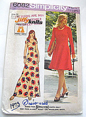 Vintage Simplicity 1973 Knit Dress Pattern