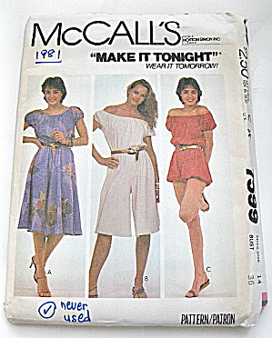 Vintage McCall Ladies Dress and Jumpsuit Pattern (Image1)