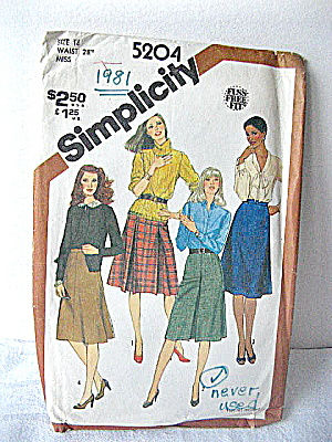 Simplicity 1981 Skirt Pattern of 4 Styles (Image1)