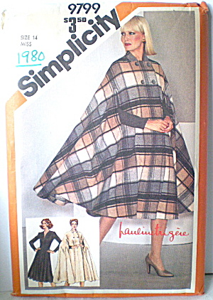 Vintage 1980 Womens Cape And Dress Pattern
