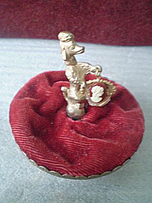 Vintage Poodle red velvet pincushion (Image1)