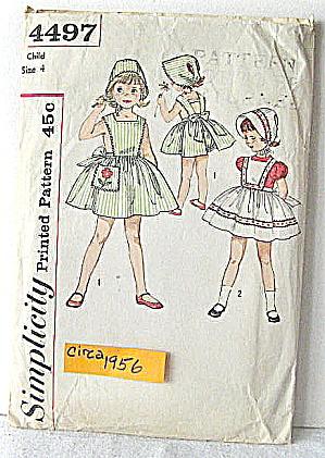 1956 Pattern Child Sundress,Pinafore,Bonnet & Panties (Image1)