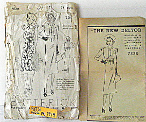 Vintage 1919 Butterick Dress Pattern With Deltor