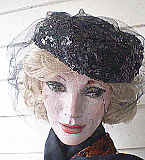 Sequinned Hat (Suspect Miriam Rigley) Couture 1950 Black