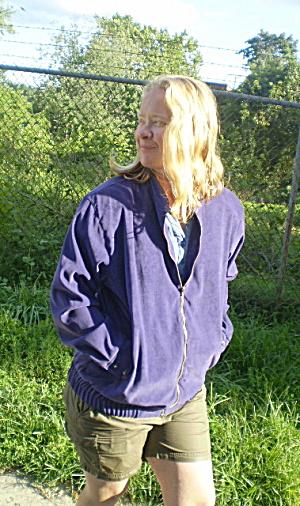 Jacket Ladies Vintage 1980s Purple Suedette Lightweight (Image1)