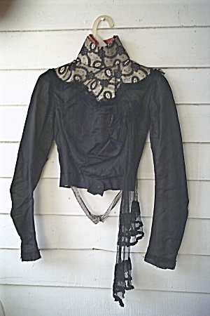 Gay Nineties Victorian Black Silk Bodice Vintage 1890