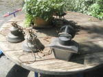 Click to view larger image of Set of 2 Vintage Brass Outdoor Lights and 1 Blk Metal (Image1)