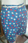 Click to view larger image of  Bermuda Shorts Vintage 1955-Red White & Blue w/Stars (Image3)