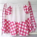Click here to enlarge image and see more about item CWA-444: Vintage 1950s Red/White Gingham Apron