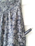 Click to view larger image of Vintage European Cotton Knit Gray and Navy Skirt  (Image4)