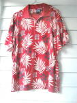 Click here to enlarge image and see more about item CWTV-543: Golf Shirt  Ladies Red Flowered 1980