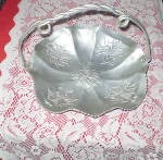 Click to view larger image of Antique 1950s Carved Aluminum Fruit Bowl (Image1)
