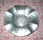 Click here to enlarge image and see more about item FA-917: Antique 1950s Hammered Aluminum Centerpiece Fruitbowl