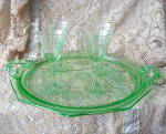 Click here to enlarge image and see more about item GDG-101: Antique Green Etched Depression Glass Tray & Stemware