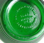 Click to view larger image of  National Pottery Green Ribbed Art Glass Vase 1950 (Image4)