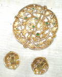 Click to view larger image of Vintage Brooch and Earrings Goldtone with Green Gems (Image2)