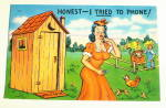Click here to enlarge image and see more about item PC-102:  Comic Vintage Postcard- Telephone Dilemma
