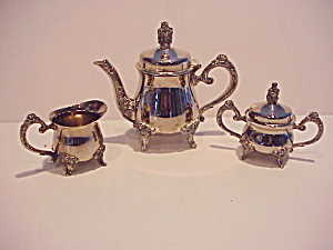 Gorgeous Silver (?) 3 Piece Child Tea Set