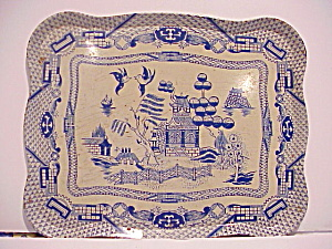 Beautiful Tin Blue Willow Tray from Tea set (Image1)