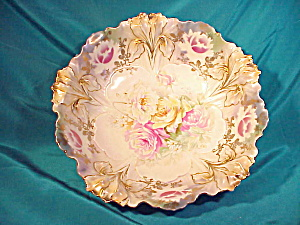 RS PRUSSIA(RM) SATIN IRIS MOLD BOWL W/GOLD (Image1)