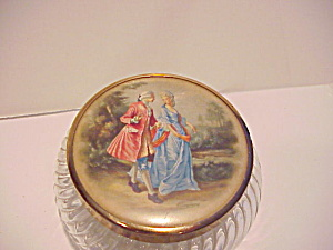Glass Powder Box With Portrait Lid