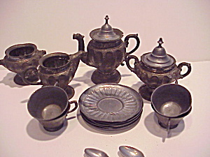 Antique Childs Pewter Tea Set (Image1)